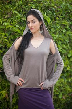 Merino Venus Sweater Wrap with Hood